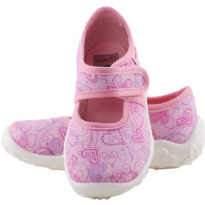 Rózsaszín-lila szívecskés, Superfit vászoncipő
