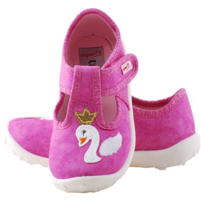 Rózsaszín, hattyús-arany koronás, nyitott, Superfit vászoncipő