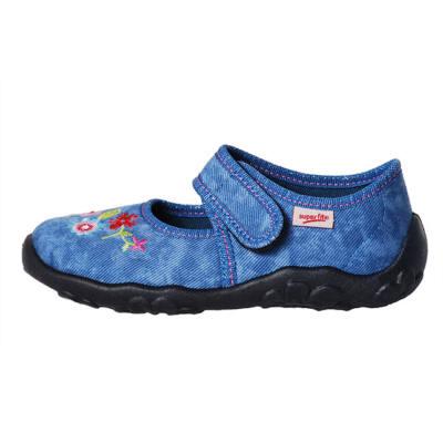 Superfit kék, hímzett virágos vászoncipő