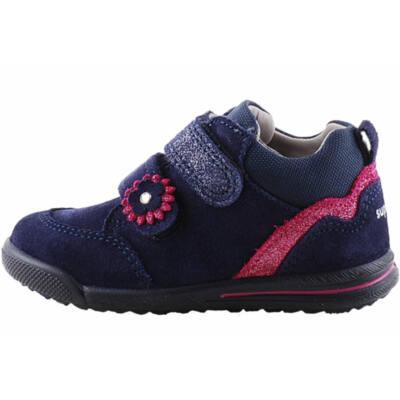 Sötétkék, bordó csillogó virágos, hajlékony talpú, keskeny, Superfit cipő
