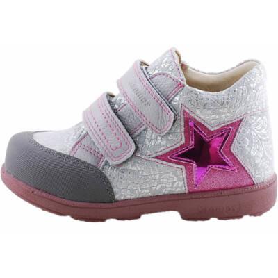 Ezüst, pink csillagos, Szamos supinált cipő