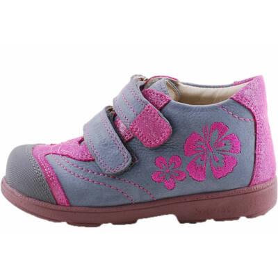Kék, csillogó pink virágos, Szamos supinált cipő