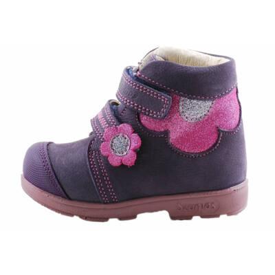 Lila, csillogó, pink virágos, Szamos supinált cipő
