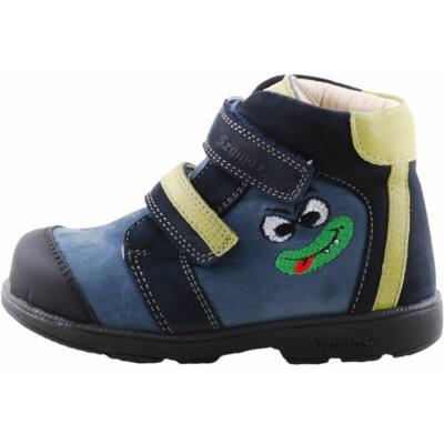Sötétkék-zöld, vicces figurás, Szamos supinált cipő