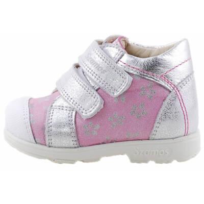 Rózsaszín, ezüst virágos, Szamos supinált cipő
