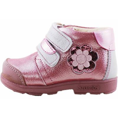 Csillogós rózsaszín-szürke, virágos, Szamos supinált cipő