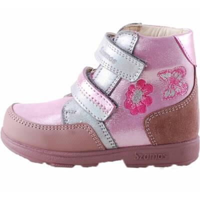Rózsaszín-ezüst, pillangós, virágos, Szamos supinált cipő