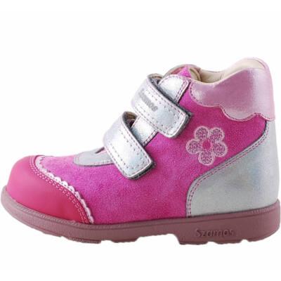 Pink, ezüst, virágos, csipkés, Szamos supinált cipő
