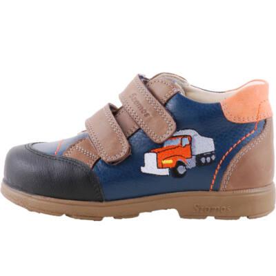 Sötétkék-barna, narancs teherautós, Szamos supinált gyerekcipő