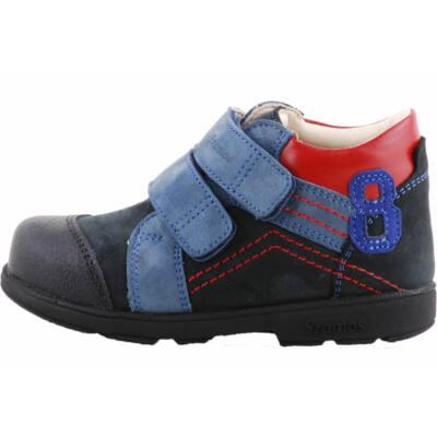 Sötétkék, piros varrású, számos, Szamos supinált cipő