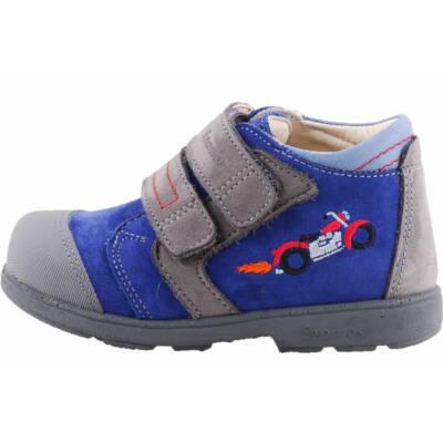 Szürke-kék, motoros, tűzlángos, Szamos supinált cipő