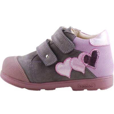 Szürke-lila, rózsaszín szívecskés, Szamos supinált cipő