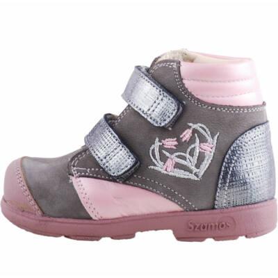 Szürke-rózsaszín, tulipános, Szamos supinált magasszárú cipő
