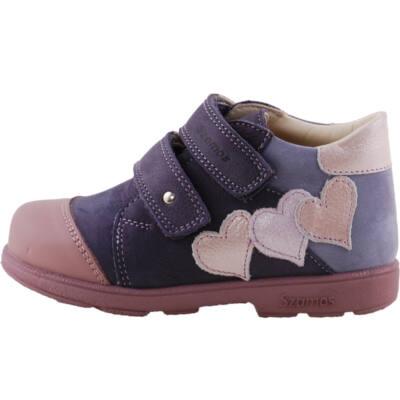 Kék-lila, rózsaszín szívecskés, Szamos supinált cipő