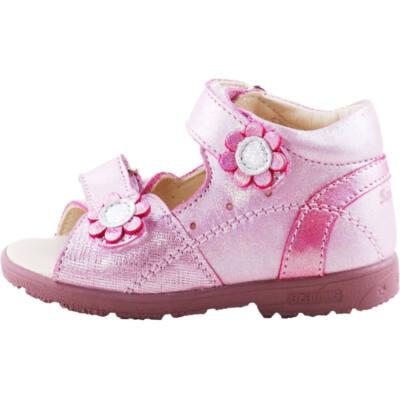 Csillogós rózsaszín, virágos, Szamos supinált szandál