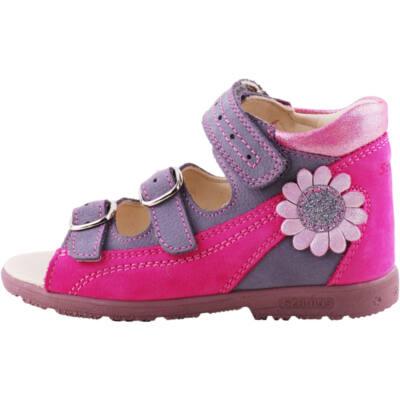 Lila, pink, csillogó virágos, Szamos supinált szandál