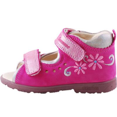 Pink-ezüst, keskeny, hímzett virágos, Szamos supinált szandál
