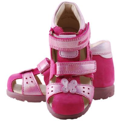 Pink, csillogós pillangós, zárt orrú, Szamos supinált szandál