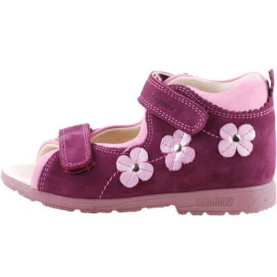 Lila, rózsaszín csillogó virágos, keskeny, Szamos supinált szandál
