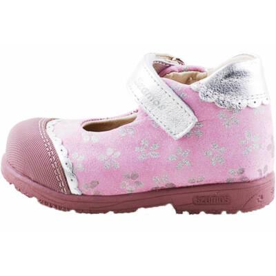 Rózsaszín, ezüst virágos, Szamos supinált, tavaszi cipő