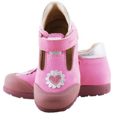 Rózsaszín-ezüst, szívecskés, felvezetőpántos, Szamos supinált balerina