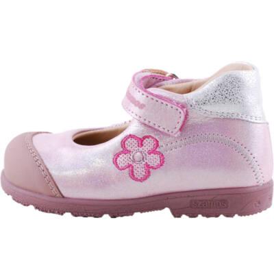 Csillogó rózsaszín, pink virágos, Szamos supinált, pántos balerina