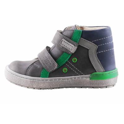 Szamos sötétszürke-kék, zöld díszítésű átmeneti cipő