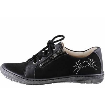 Fekete, fűzős, cipzáras, oldalt csillogós, Szamos cipő