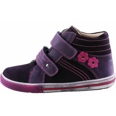 Lila, ciklámen varrású, virágos Szamos magasszárú átmeneti cipő