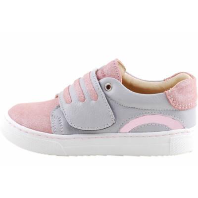 Szürke, csillogó rózsaszín, vastag tépőzáras, hajlékony talpú Szamos cipő