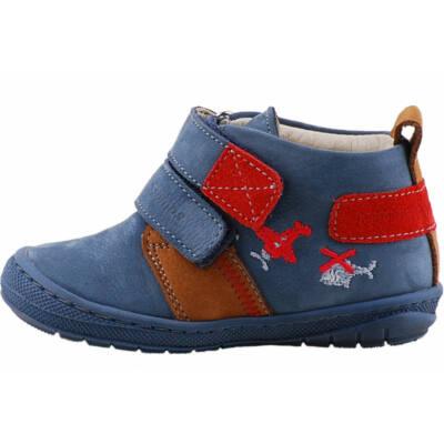 Kék, piros repülős, puha talpú, Szamos cipő