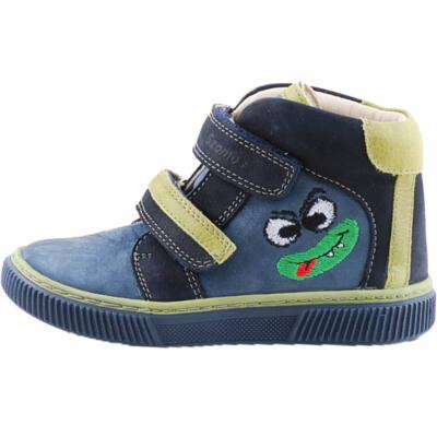 Kék-zöld, vicces figurás, magasszárú, Szamos cipő
