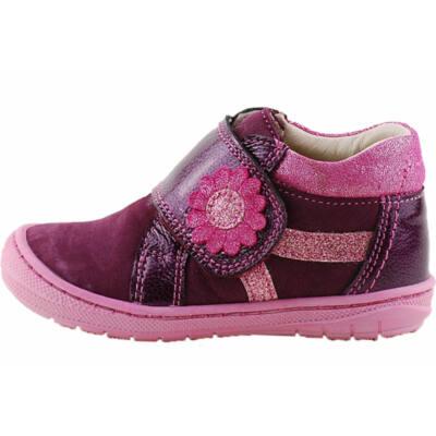 Lila, pink, virágos, hajlékony talpú, Szamos cipő