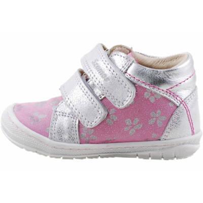 Rózsaszín, ezüst virágos, hajlékony talpú, Szamos cipő