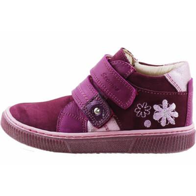 Lila-ezüst, virágos, hajlékony talpú Szamos cipő