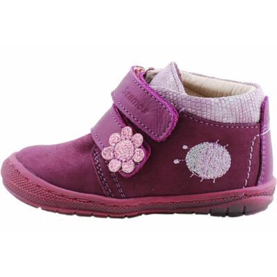 Lila, csillogó katicás-virágos, hajlékony talpú, Szamos cipő