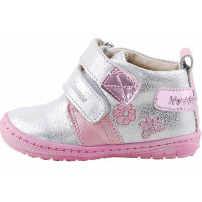 Ezüst, rózsaszín, virágos, hajlékony talpú, Szamos cipő