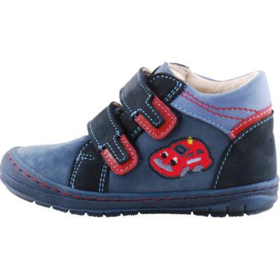 Sötétkék, piros kisautós, puha talpú, Szamos cipő