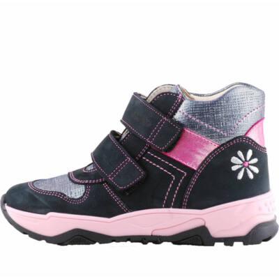 Sötétkék, rózsaszín, ezüst virágos, Szamos cipő