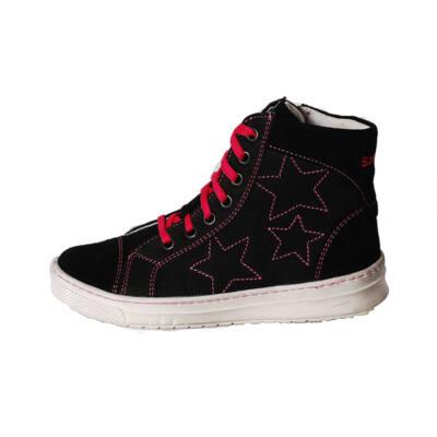 Szamos fekete oldalt csillagos, rózsaszín fűzős magasszárú cipő