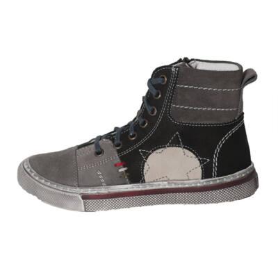 Szamos fűzős, szürke, magasszárú cipő