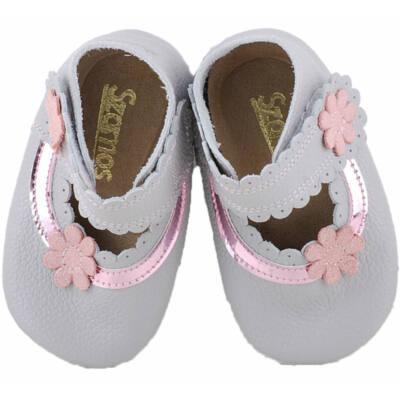 Szürke, rózsaszín virágos, puhatalpú Szamos cipő