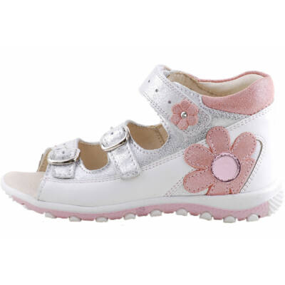 Fehér-rózsaszín, ezüst virágos, hajlékony talpú, Szamos szandál