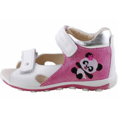 Fehér, csillogó pink, pandamacis, hajlékony talpú, Szamos szandál