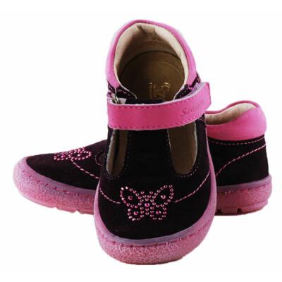 Lila-pink, flitteres, pillangós, pántos, Szamos szandálcipő