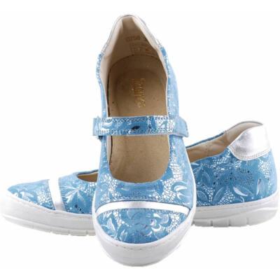 Kék-ezüst, hajlékony talpú, Szamos, pántos balerina