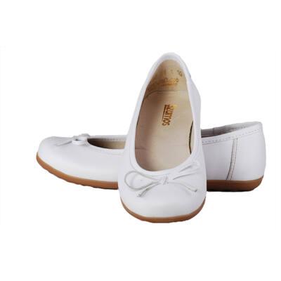 Szamos fehér, bőr masnis balerina