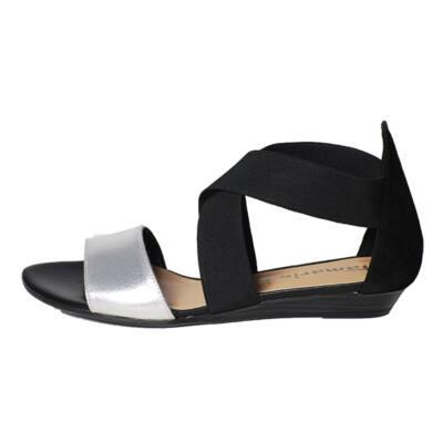 Tamaris fekete-ezüst gumipántos szandál - Levendula gyerekcipő a55c926236