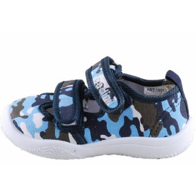 Kék terepmintás, bőr betétes, nyitott, Padini vászoncipő