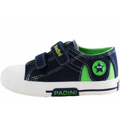 Farmerkék, zöld, csillagos Padini vászoncipő